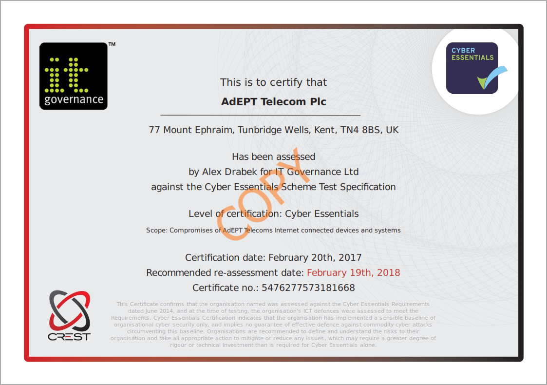 Cyber essentials from adept telecom cyber essentials see our cyber essentials certificate here xflitez Choice Image